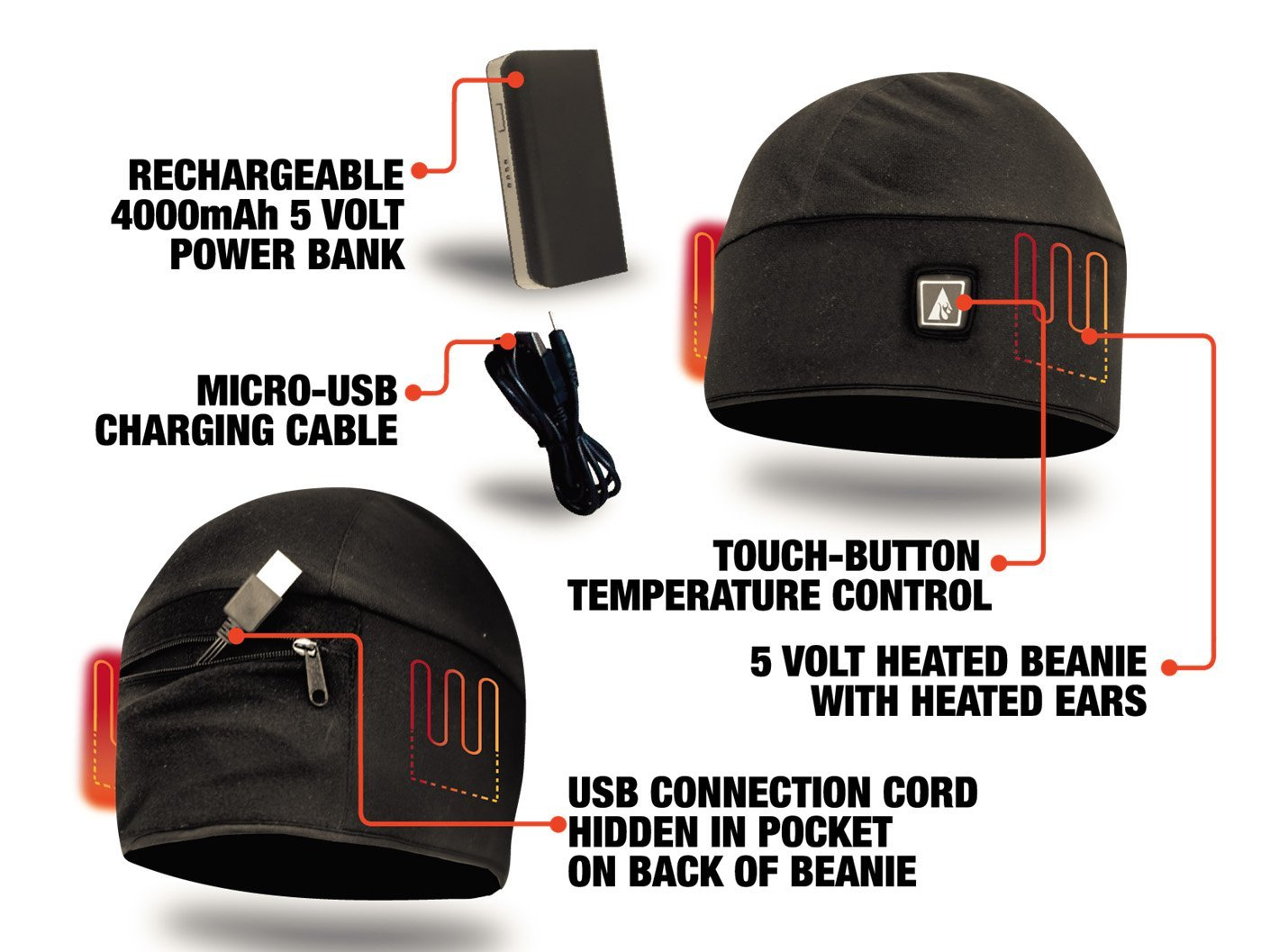 ActionHeat Rechargeable Battery Heated Beanie Hat - Electric Socks f07ee47c7f5