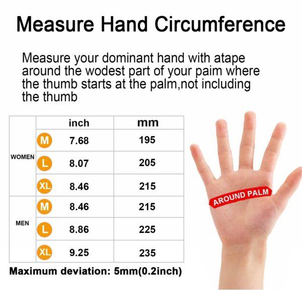 Ozero Touchscreen Thermal Gloves - 07 - glove size chart
