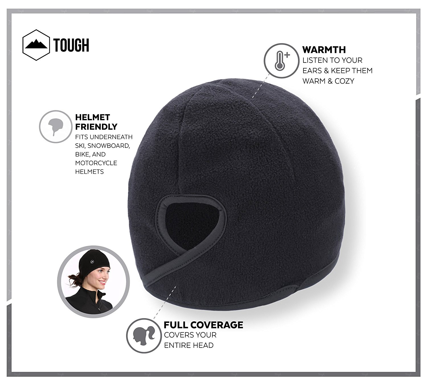 Tough Headwear Helmet Liner Skull Cap Beanie with Ear Covers Perfect for Running Cycling Fits Under Helmets Skiing /& Winter Sports Ultimate Thermal Retention and Performance Moisture Wicking