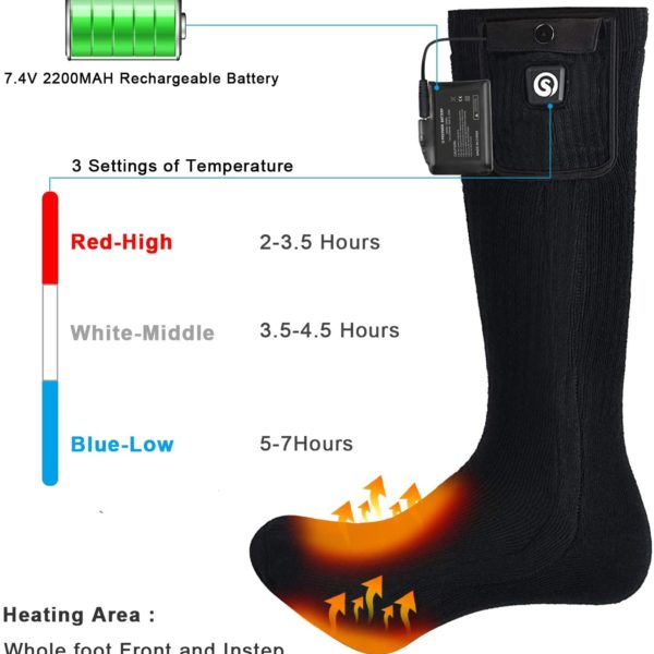 SNOW DEER Heated Electric Socks - Heating Levels and Area