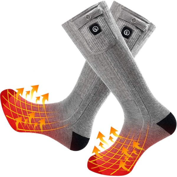 SNOW DEER Heated Electric Socks - Gray Color